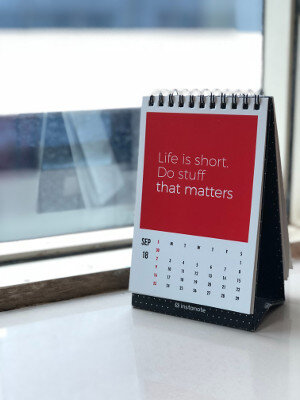Calendar with motivational saying