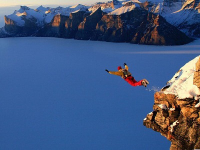 Risk and reward - jumping off cliff