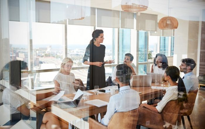 Why is leadership important - businesswoman leading meeting
